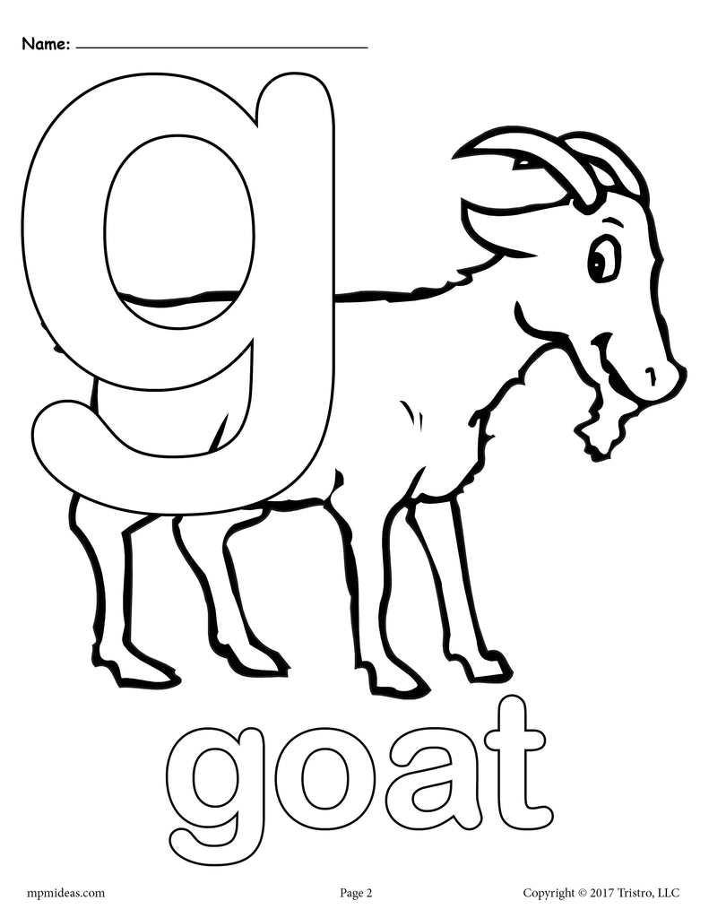 Letter G Alphabet Coloring Pages 3 FREE Printable