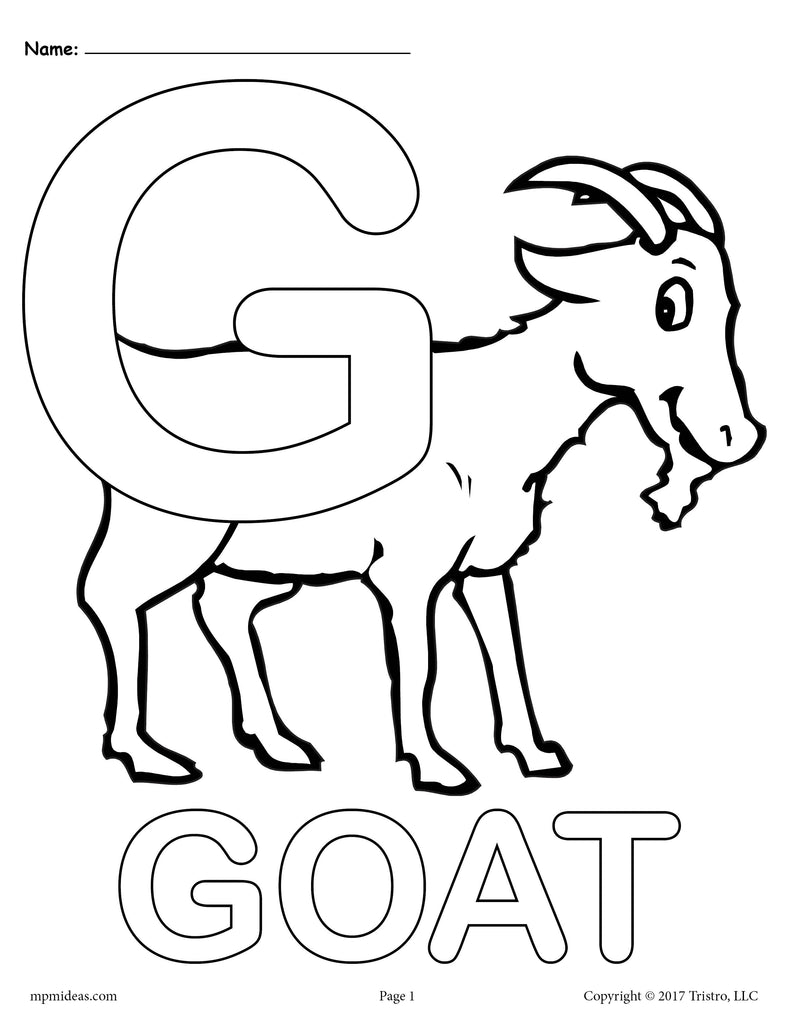 Letter G Alphabet Coloring Pages - 3 Printable Versions!