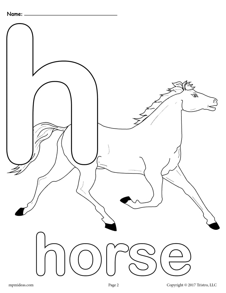 Letter H Alphabet Coloring Pages - 3 FREE Printable ...