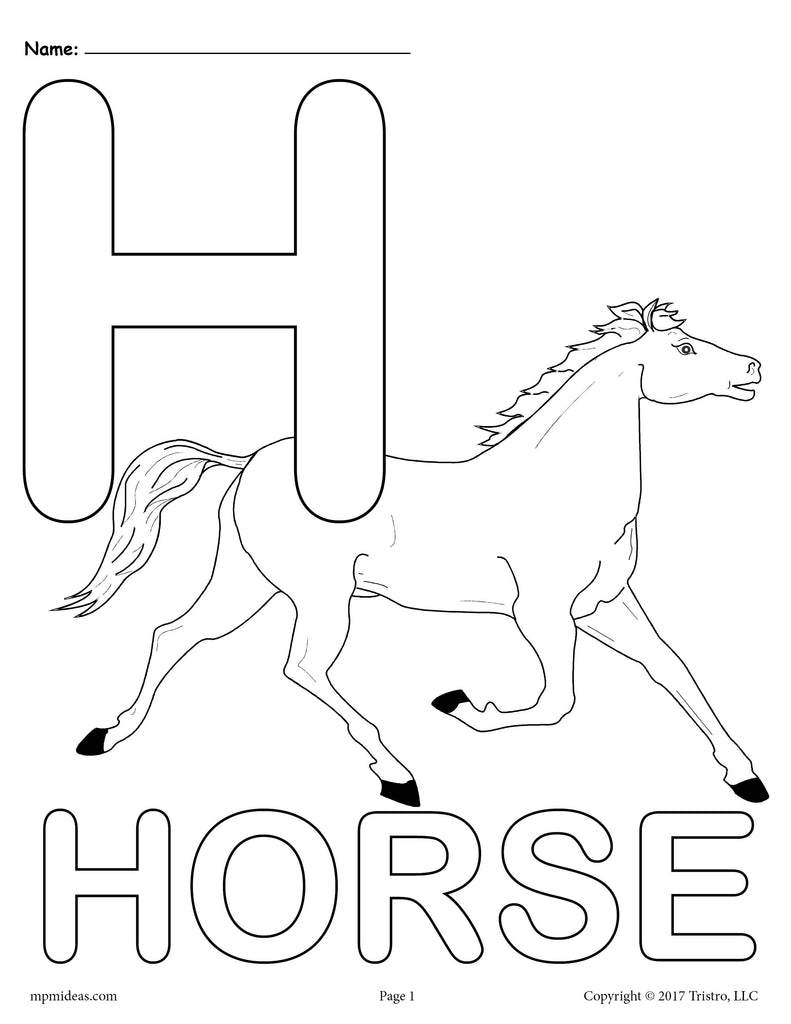 Letter H Alphabet Coloring Pages - 3 Printable Versions!