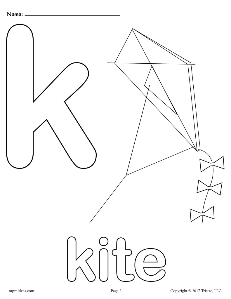 Letter K Alphabet Coloring Pages