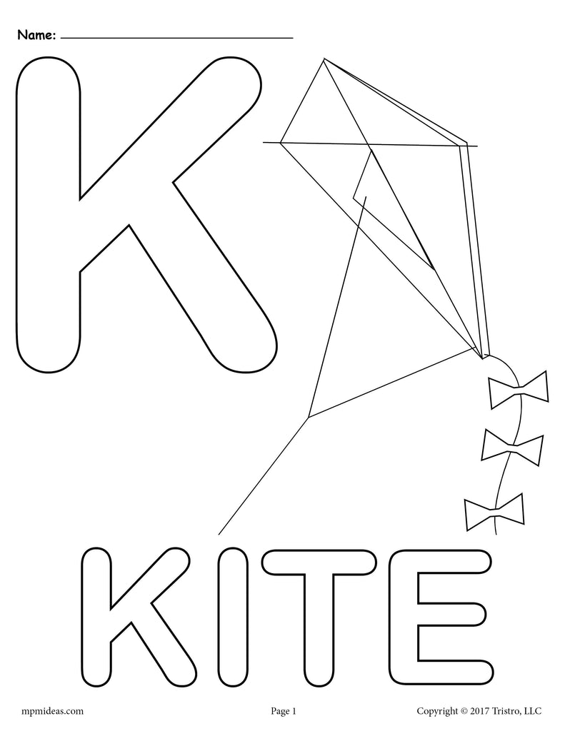 Letter k alphabet coloring pages 3 free printable for The letter k coloring pages
