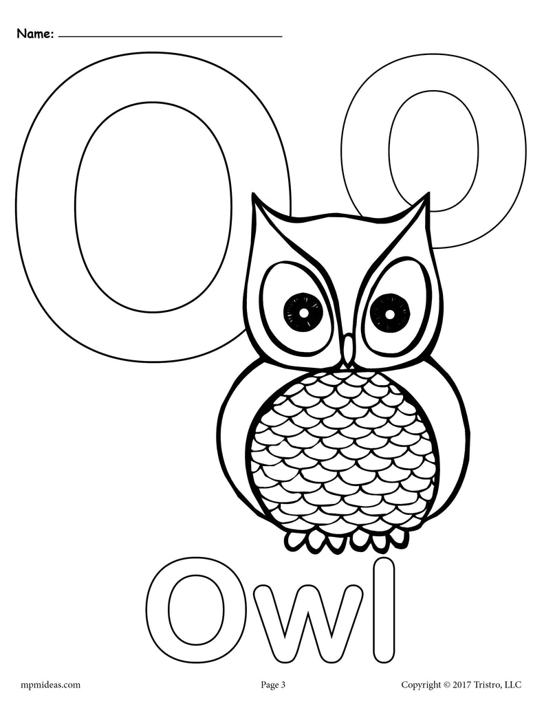 Letter O Alphabet Coloring Pages