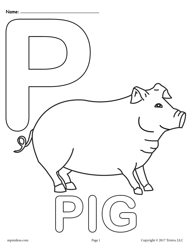 Letter P Alphabet Coloring Pages