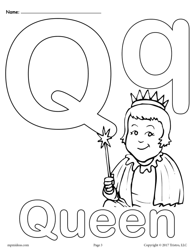 Letter Q Alphabet Coloring Pages - 3 FREE Printable ...