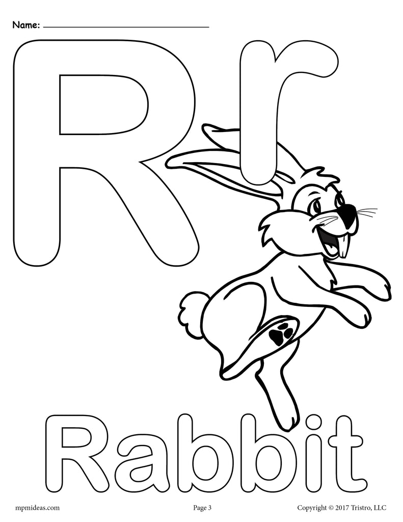 Letter R Alphabet Coloring Pages - 3 FREE Printable ...