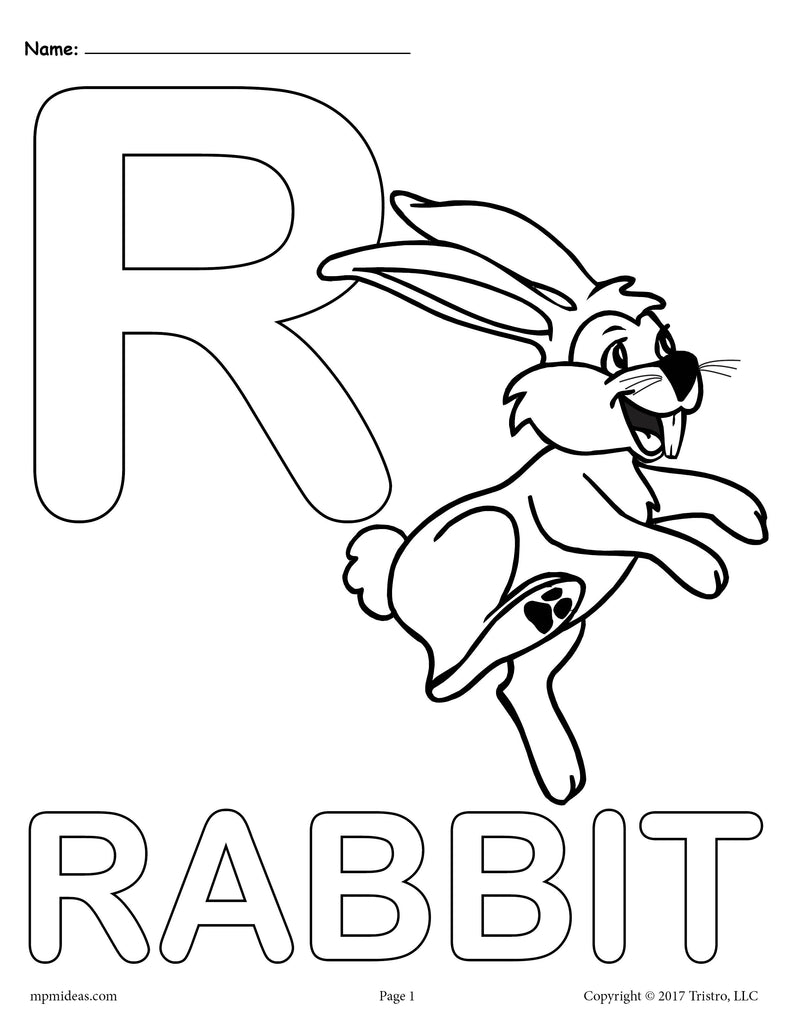 Letter R Alphabet Coloring Pages - 3 Printable Versions!