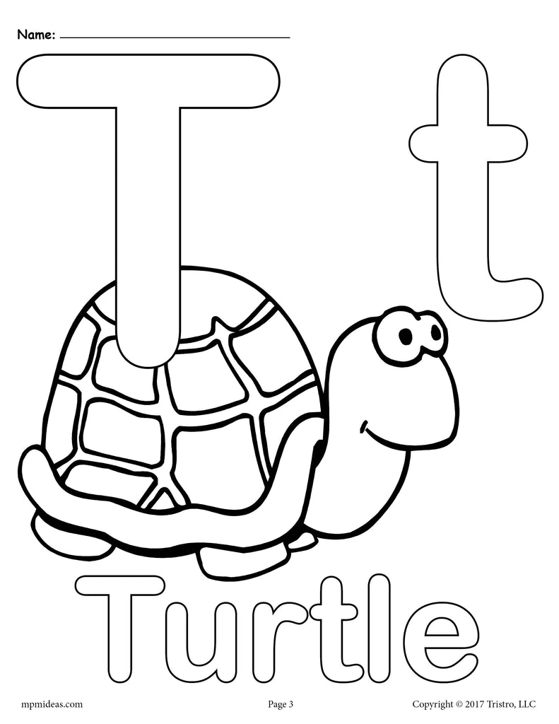 Letter T Alphabet Coloring Pages - 3 Printable Versions ...