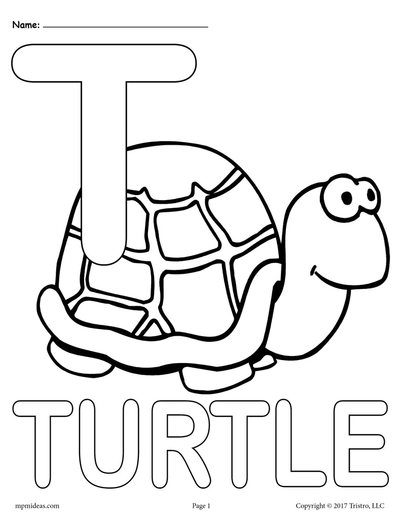 Letter T Alphabet Coloring Pages - 3 Printable Versions!