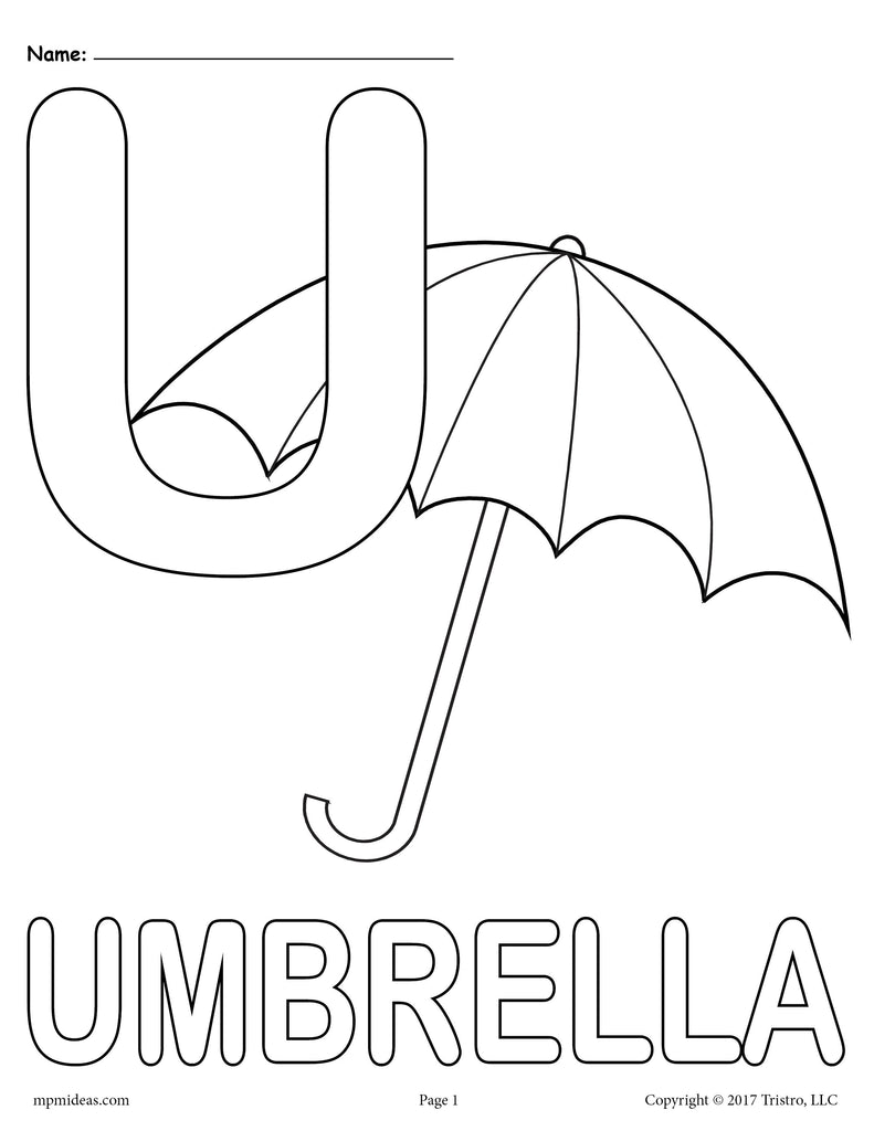 Letter U Alphabet Coloring Pages - 3 Printable Versions!