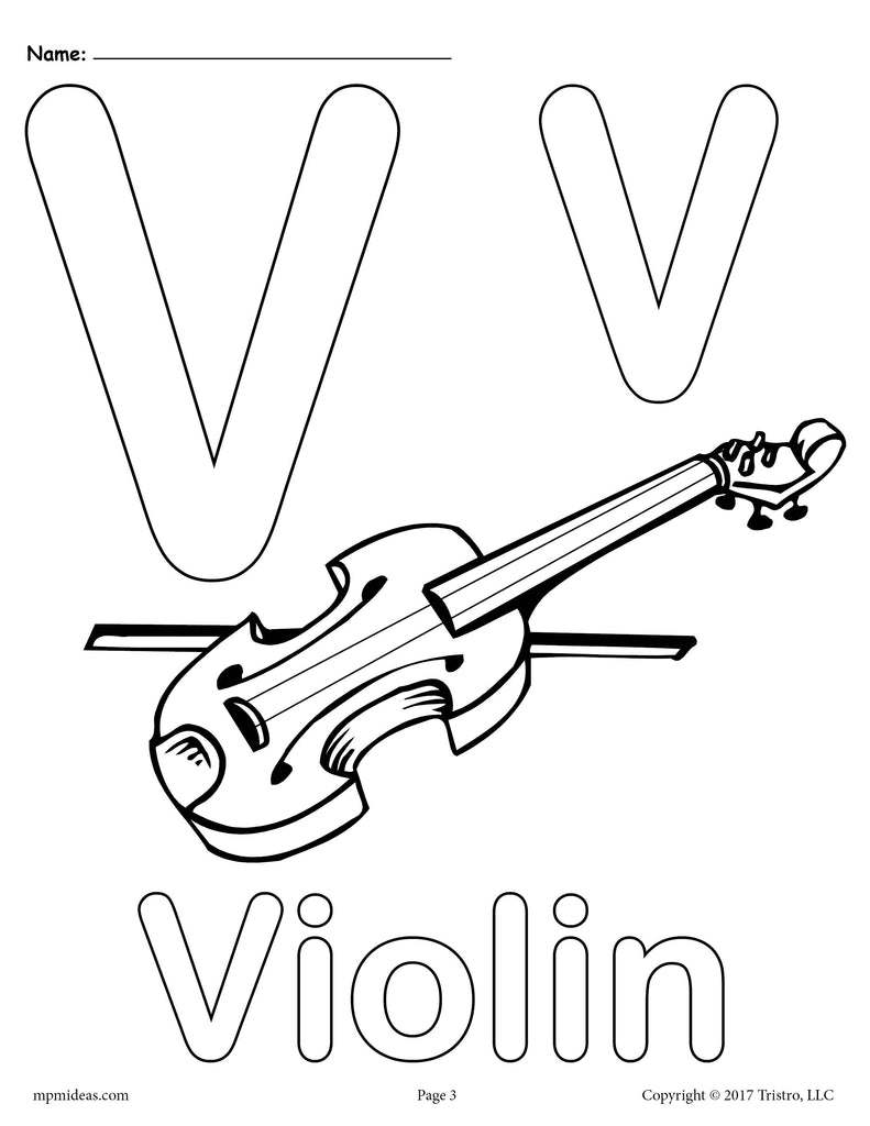 Letter V Alphabet Coloring Pages - 3 FREE Printable ...
