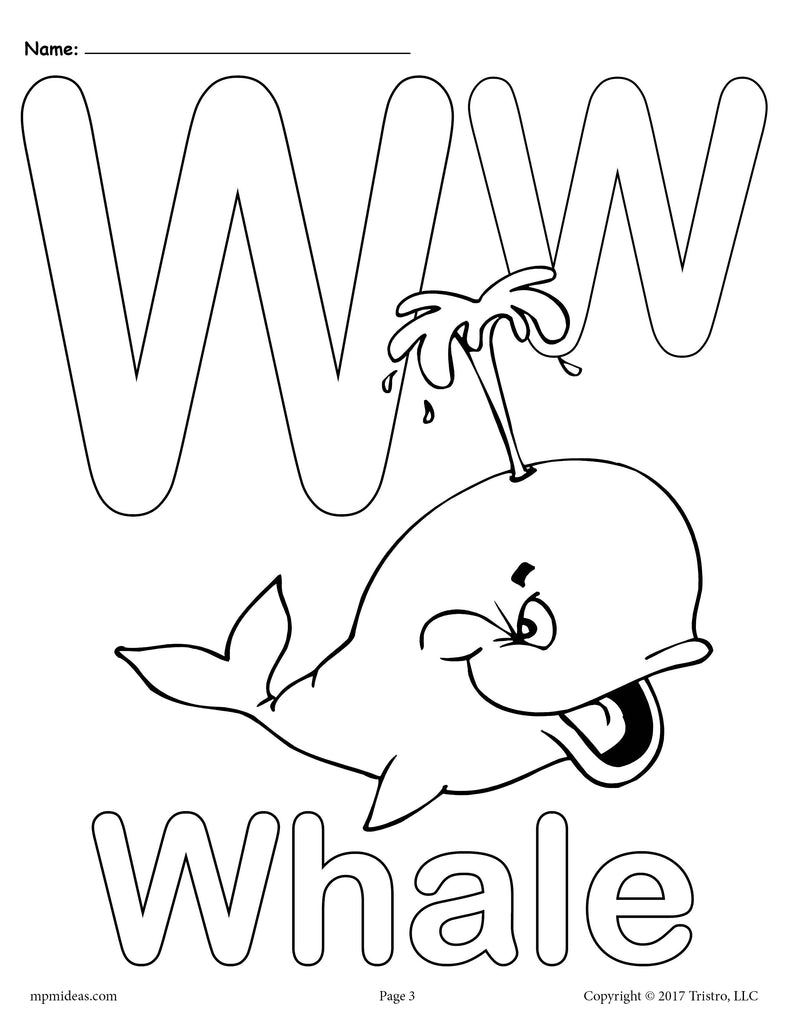 Letter W Alphabet Coloring Pages - 3 Printable Versions ...