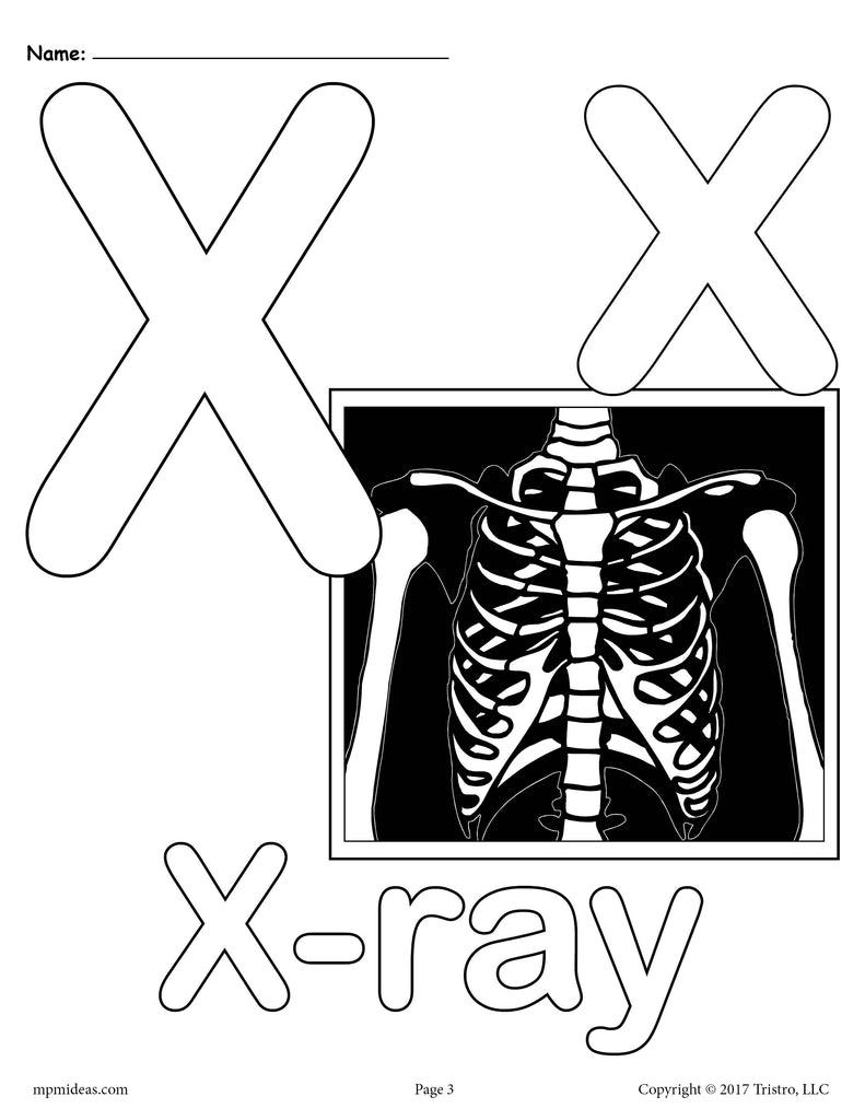 Letter X Alphabet Coloring Pages - 3 FREE Printable Versions!