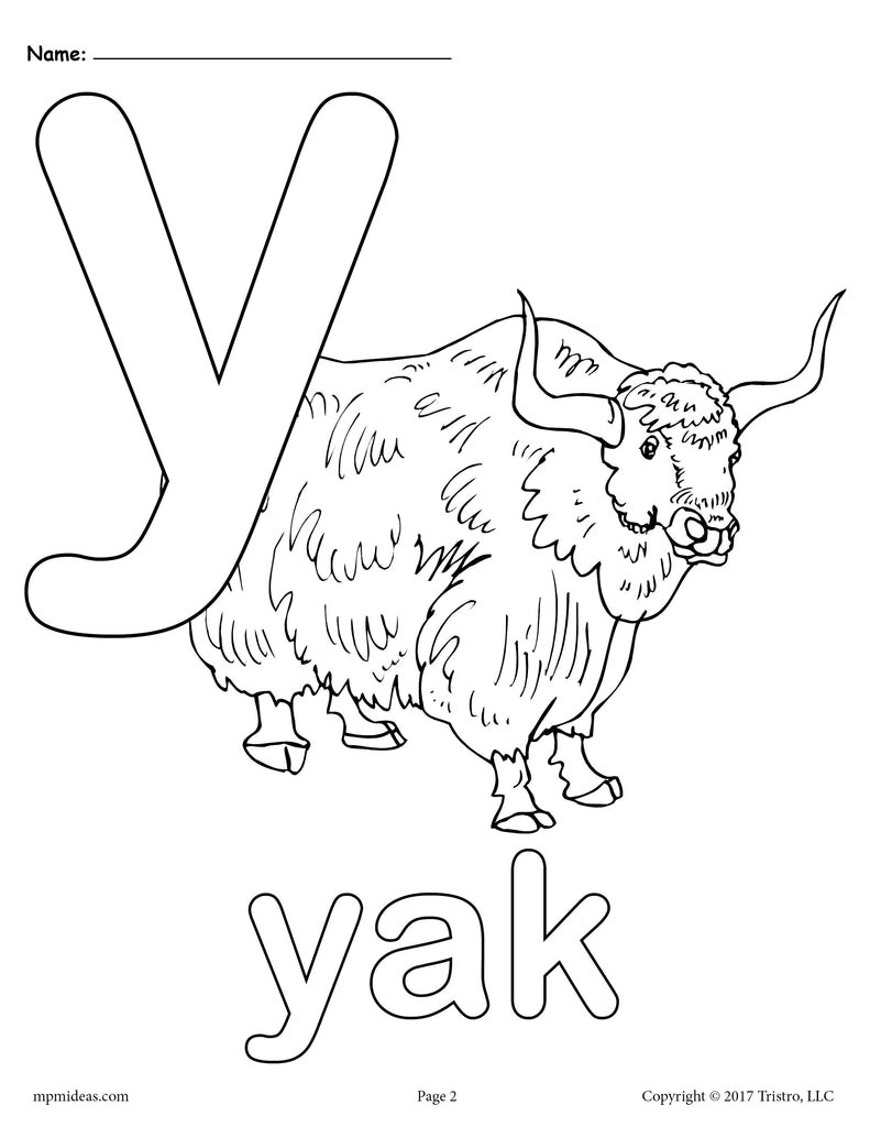 Letter Y Alphabet Coloring Pages - 3 Printable Versions!