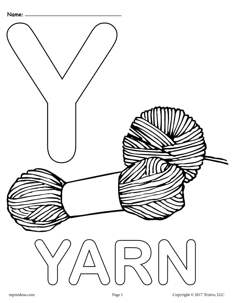 Letter Y Coloring Pages - Uppercase Y & Lowercase y – SupplyMe Y Coloring Page Free