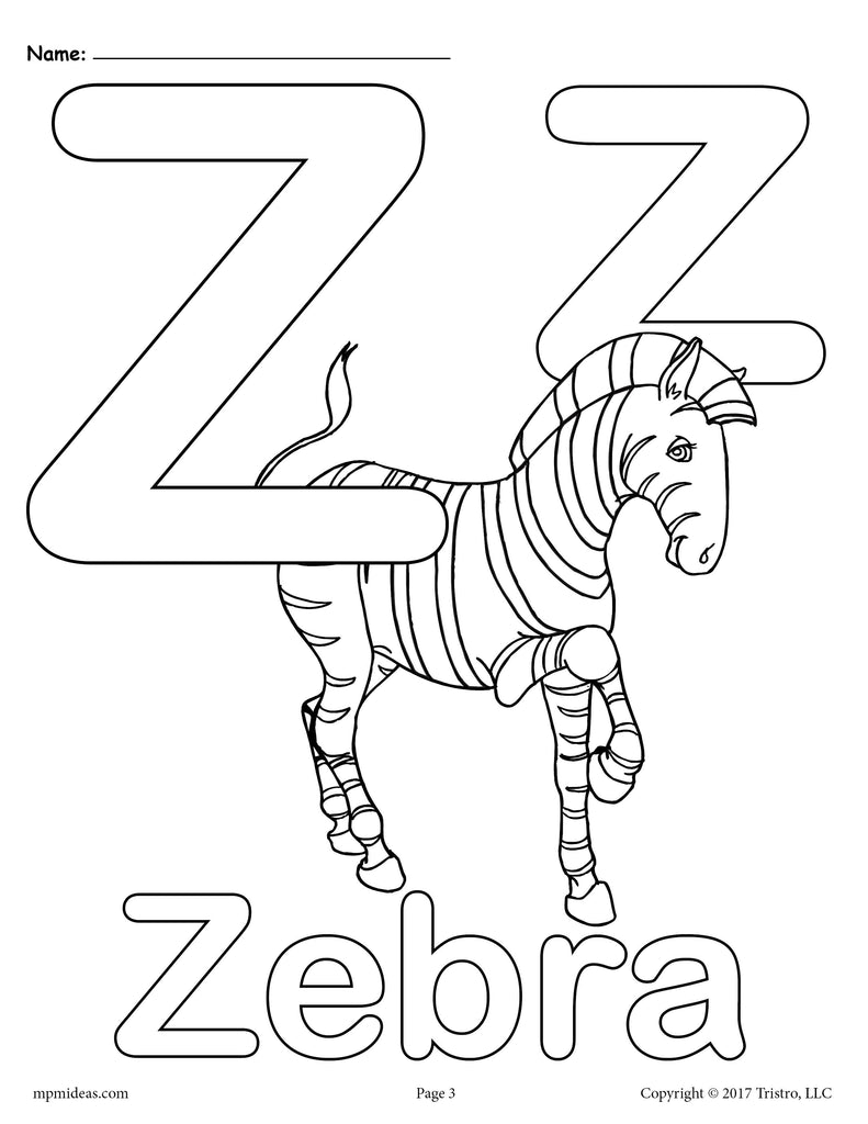 Letter Z Alphabet Coloring Pages - 3 Printable Versions!