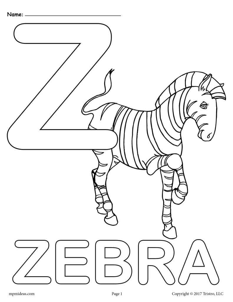 Letter Z Alphabet Coloring Pages