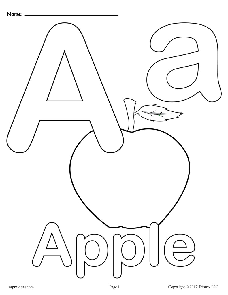 Letter A Coloring Pages - Uppercase and Lowercase Letters