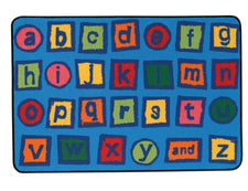 Alphabet Blocks KID$ Value Discount Classroom Carpet, 4' x 6' Rectangle