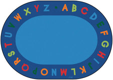 Alphabet Circle Time Classroom Carpet, 6' x 9' Oval