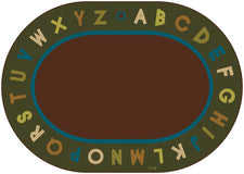 "Nature Alphabet Circle Time Classroom Rug, 8'3"" x 11'8"" Oval"