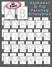52 Alphabet Q-Tip Painting Printables - Uppercase and Lowercase Letters