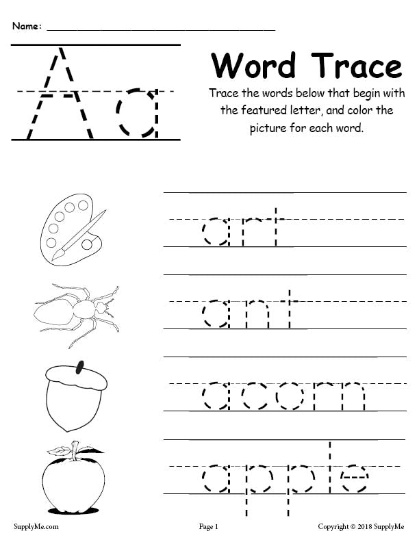 Letter A Words - Alphabet Tracing Worksheet