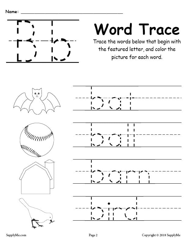 Letter B Words - FREE Alphabet Tracing Worksheet