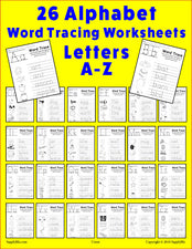 26 Alphabet Word Tracing Worksheets!