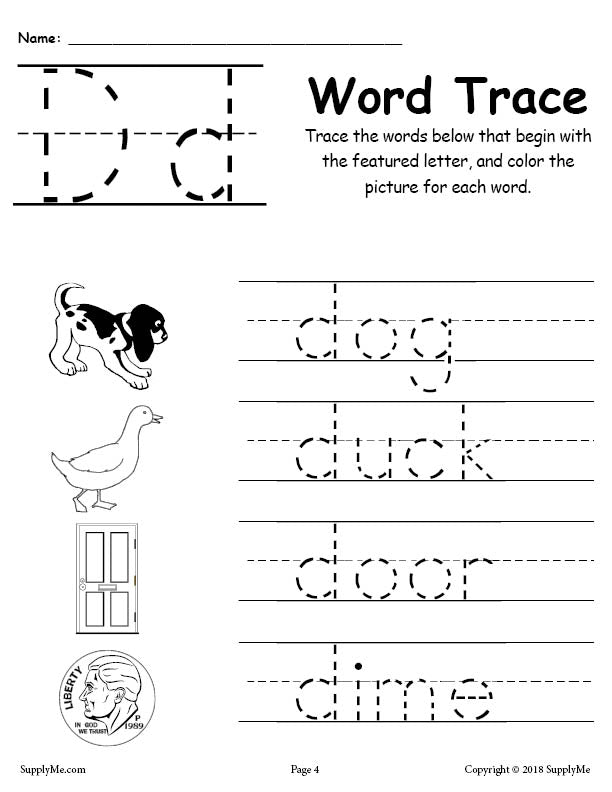 Letter D Words - FREE Alphabet Tracing Worksheet – SupplyMe