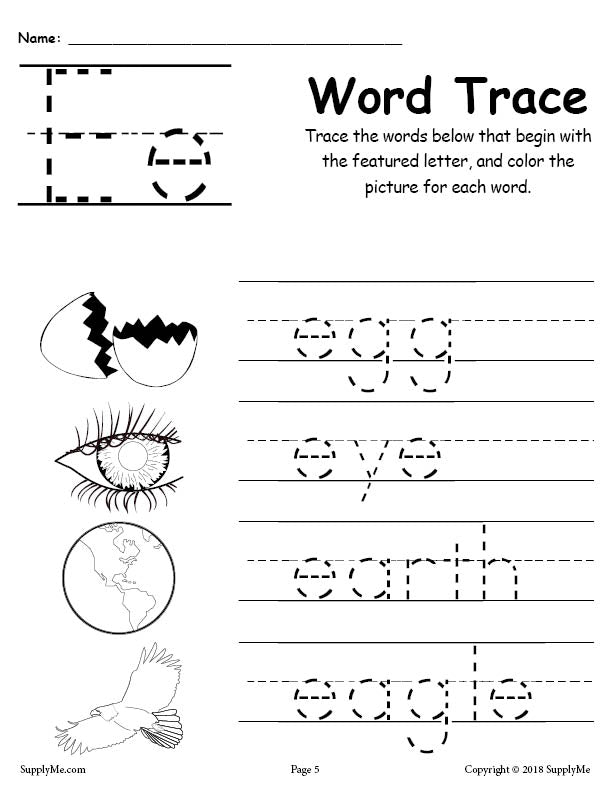 Letter E Words - FREE Alphabet Tracing Worksheet