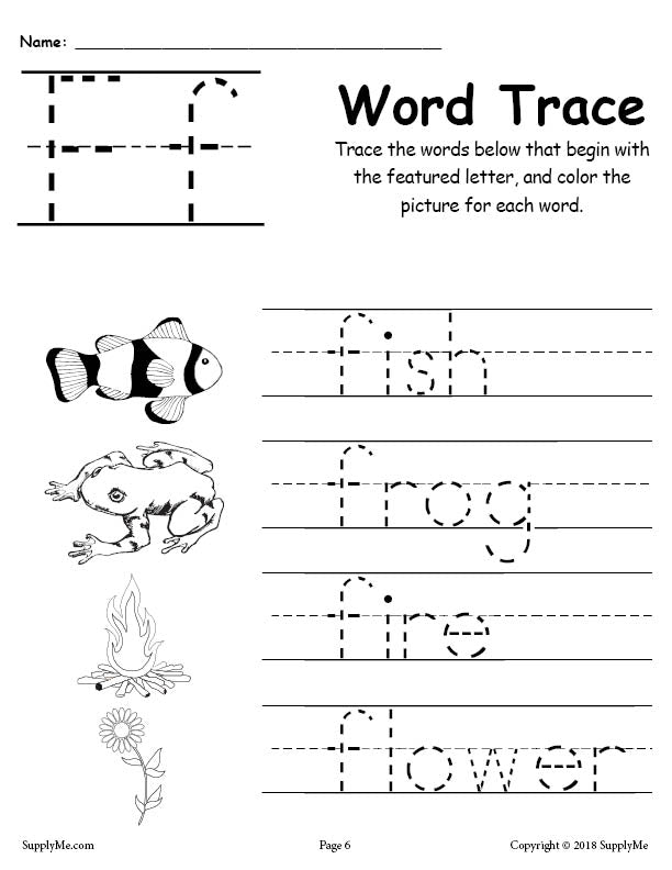 Letter F Words - FREE Alphabet Tracing Worksheet