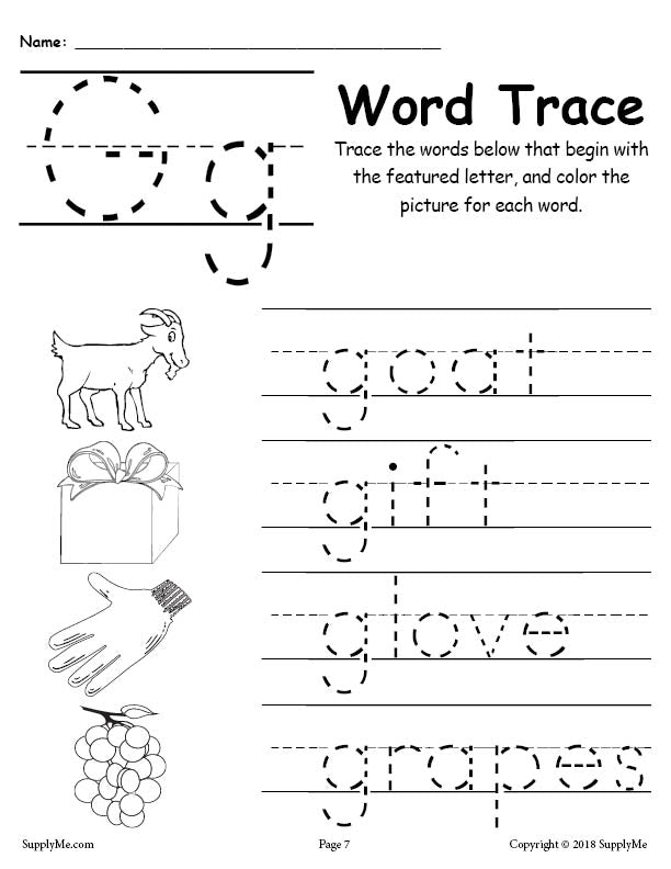 Letter G Words - Alphabet Tracing Worksheet