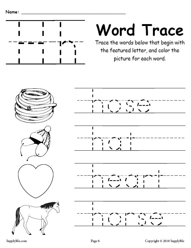 Letter H Words - FREE Alphabet Tracing Worksheet