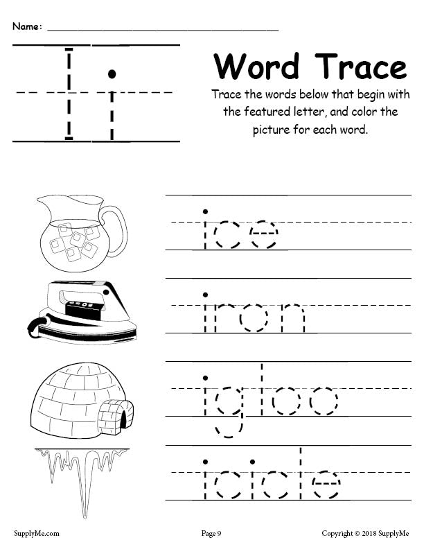 Letter I Words - FREE Alphabet Tracing Worksheet