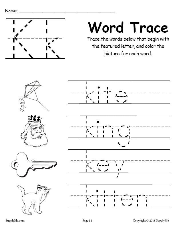 letter k words free alphabet tracing worksheet supplyme. Black Bedroom Furniture Sets. Home Design Ideas