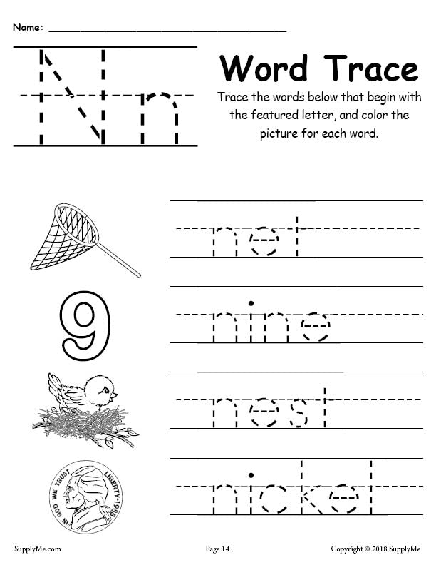 letter n words free alphabet tracing worksheet supplyme. Black Bedroom Furniture Sets. Home Design Ideas
