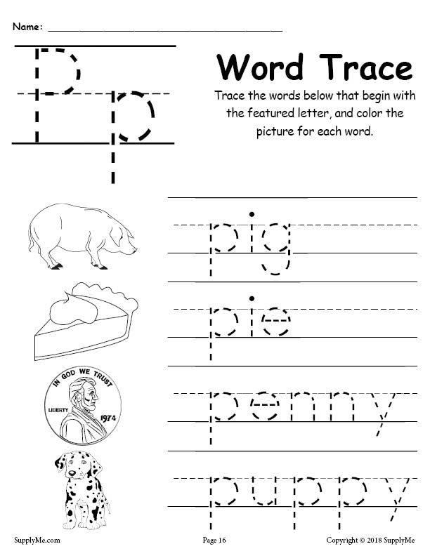 Letter P Words - FREE Alphabet Tracing Worksheet