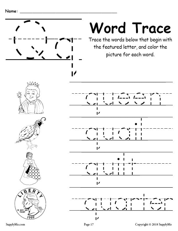 Letter Q Words - Alphabet Tracing Worksheet