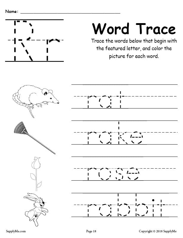 Letter R Words - FREE Alphabet Tracing Worksheet