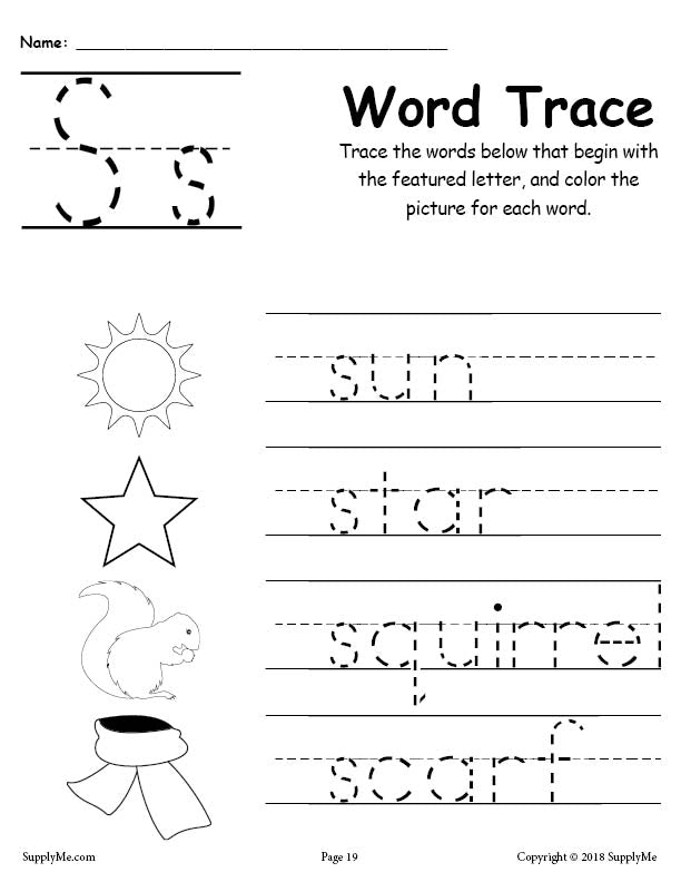 Letter S Words - FREE Alphabet Tracing Worksheet – SupplyMe