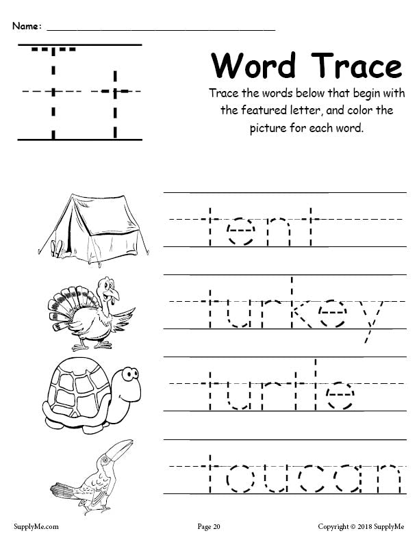 Letter T Words - FREE Alphabet Tracing Worksheet