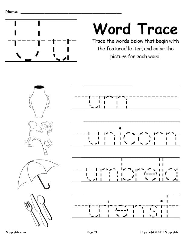 Letter U Words - FREE Alphabet Tracing Worksheet