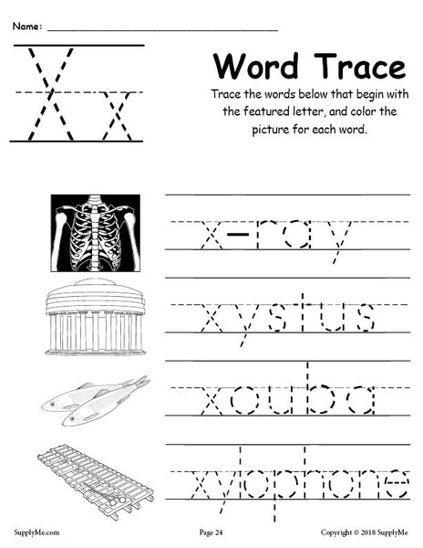 words starting with the letter x letter x words free alphabet tracing worksheet supplyme 25715 | Alphabet Word Trace series X grande