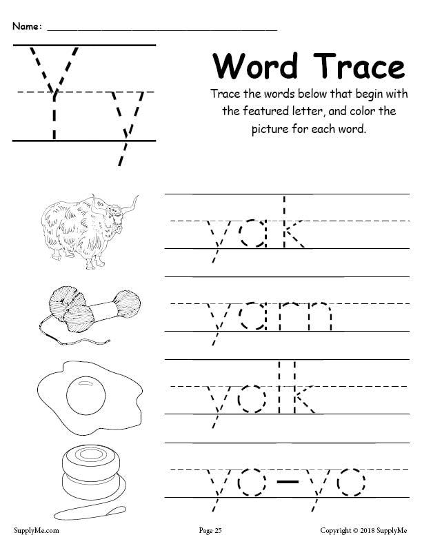 Letter Y Words - FREE Alphabet Tracing Worksheet