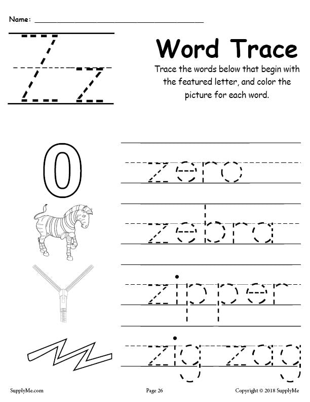 letter z words free alphabet tracing worksheet supplyme. Black Bedroom Furniture Sets. Home Design Ideas