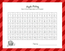 Apple Math Centers - Apple Roll & Cover Grid Game
