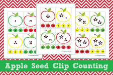 Apple Math Centers - Apple Seed Clip Counting