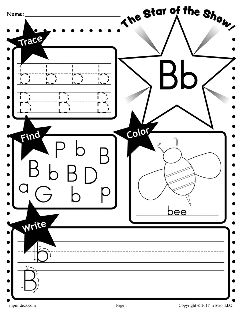 - Letter B Worksheet: Tracing, Coloring, Writing & More! – SupplyMe