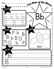 FREE Letter B Worksheet: Tracing, Coloring, Writing & More!